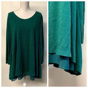 UMGEE Dark Green Layered Thin Knit Boho Tunic Top